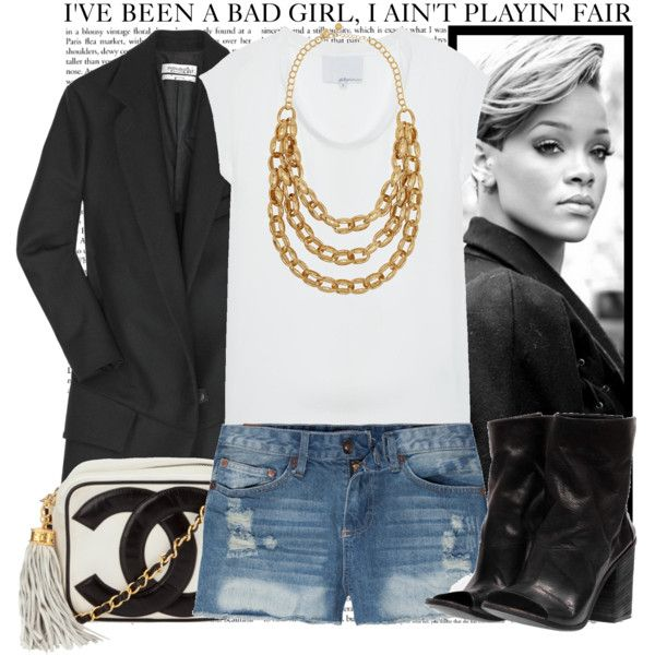 A simple white T with a blazer & cutoff #denim shorts. Bad Girl, created by vanessanataly