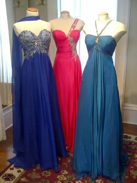 A few of the new prom dresses that we have in stock.