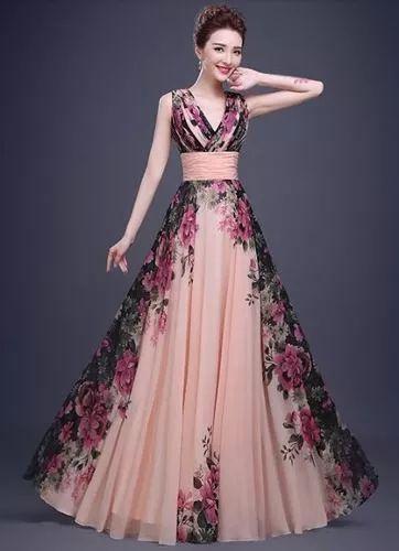 vestido floral alça baile festa formatura longo plus size