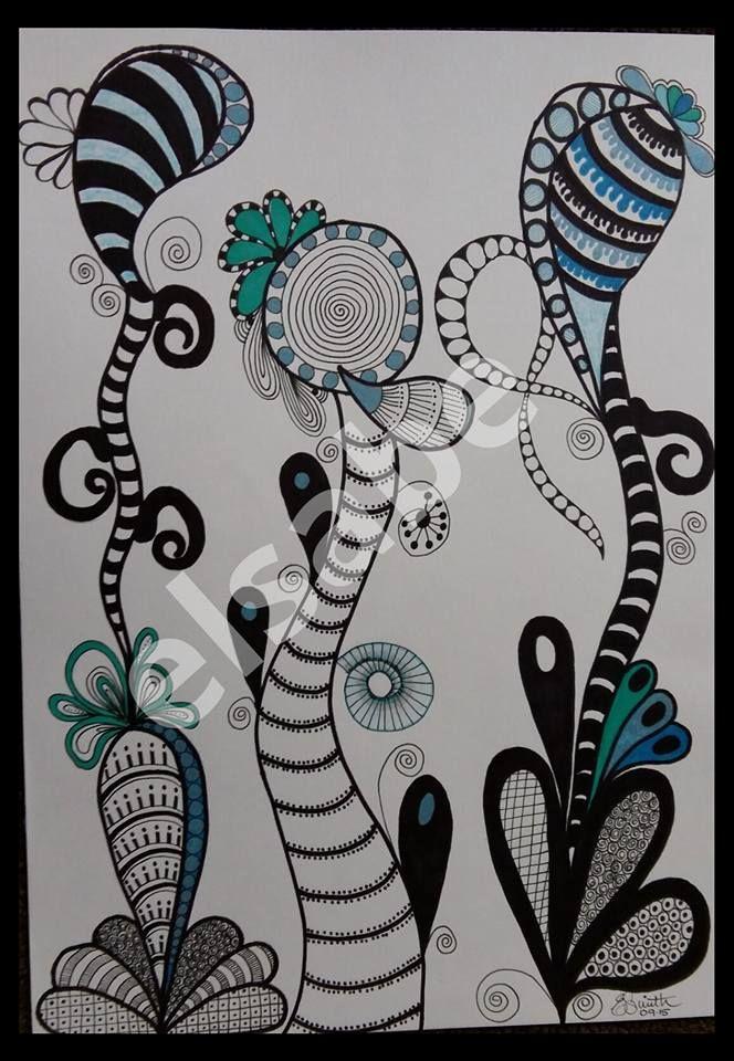Blue funky garden 3 - zentangle art