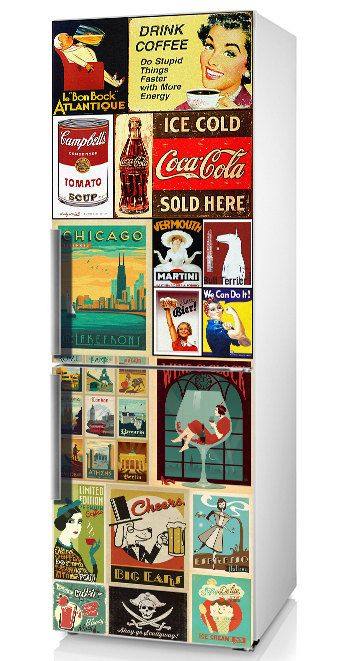 "Fridge decal Retro, Refrigerator sticker, Vintage, Vinyl sticker ""Retro labels"", Refrigerator Decor, Retro kitchen decor, Refrigerator Decal"