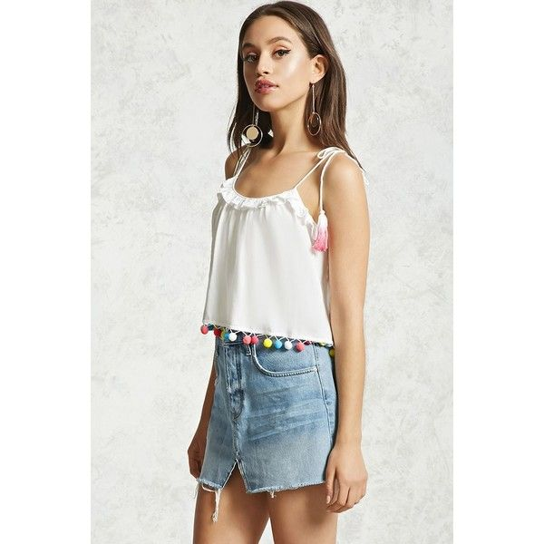 Forever21 Pom Pom Crop Top ($16) ❤ liked on Polyvore featuring tops, cream, woven top, strappy top, strappy crop top, cream crop top and tiered ruffle top
