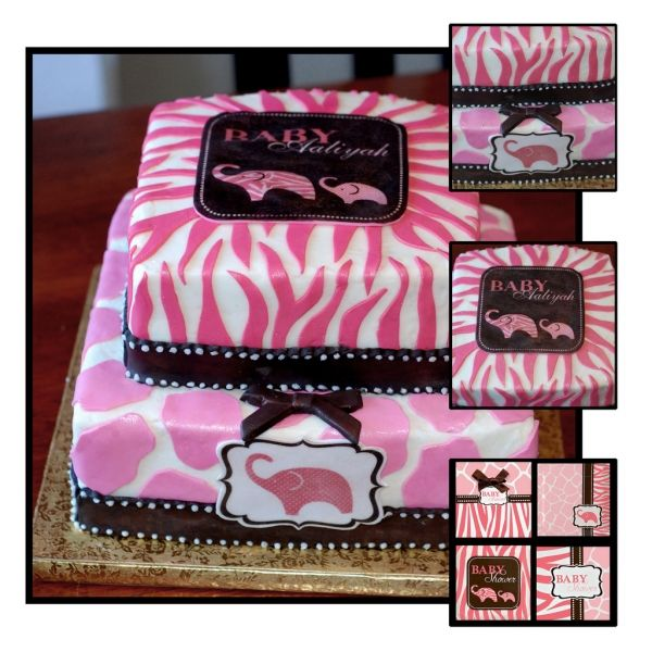 Pink Wild Safari Baby Shower Cake!