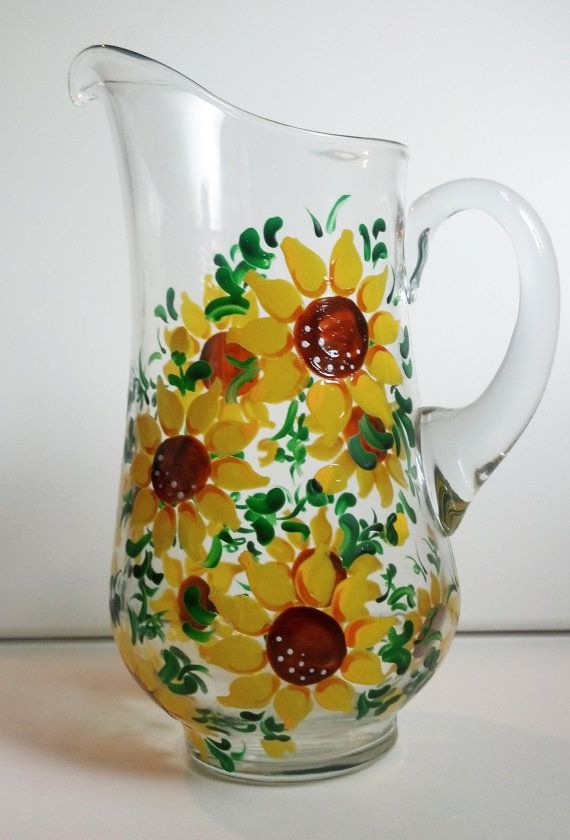 Hand Painted Sunflower Ice Tea Pitcher. This pitcher would be perfect for Iced Tea on a warm Summer day.