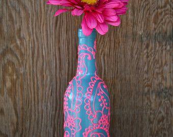 Hand Painted Wein Flasche Vase, Up radelte, Türkis und Koralle Orange, lebendige Henna Stil  Wenn Leben Ihnen viele leere Flaschen Wein gibt, machen
