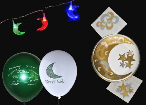 Eid Party Pack by Zaffron Shop. $39.99. Our Eid Party Pack includes some of our most popular Eid items-- a string of multi-colored moon lights, a pack of 20 assorted Eid balloons (10 each of the World Greetings and Eid Moon designs), 10 Eid Plates,  and 20 Eid dinner napkins.  Perfect for a family gathering, to add to a party event, or as an Eid gift.   The Eid lights are a string of indoor LED lights with plastic crescent moons that are lit with different col...
