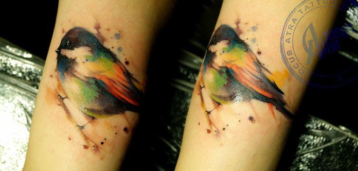 Тату_Locus Atra _татуировка_в Самаре L.A.W. watercolor bird tattoo  tit tattoo art