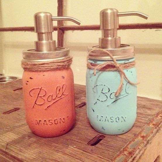 DIY Mason Jar Soap Dispensers - Cute Décor. Spray paint or paint, use sandpaper to rub the letters and markings.
