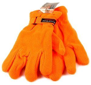 Hunter Blaze Orange, Polar Fleece Gloves by Griffin. $4.95. 100% Polyester, Insulated Poler Fleece. Medium-Large Size, With Velcro Wrist Cinch Strap. Safety Orange Is The Only Way To Go When Being Seen Is Important. Hunter's Blaze Orange Gloves. Great For Hunting, Police Work, Fireman, Construction. Perfect winter work gloves for hunting, directing traffic, police work, skiing, dog walking, busy construction sites, winter activities, etc.