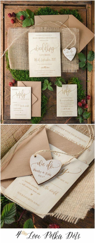 Wooden engraved wedding invitation with burlap wrapping #wood #wooden #nature #boho #bohemian #calligraphy #weddingideas #eco