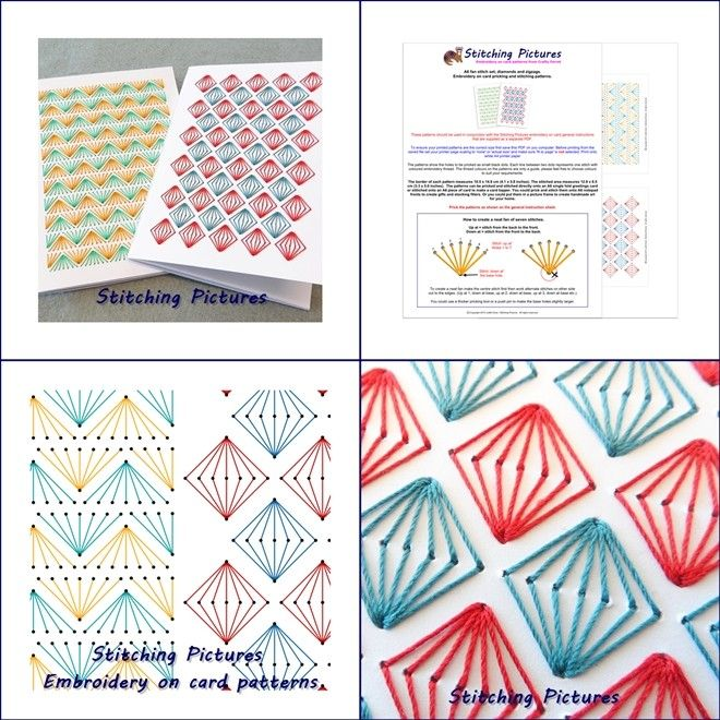Set of two A6 geometric diamonds and zigzags stitching on card embroidery instant PDF download patterns to decorate cards and notebooks from https://payhip.com/b/vDmI