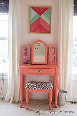 Simple DIY Vanity  A Little Girls Colorful Bedroom  See More  Coral Gables  by Benjamin Moore476 best Ellie Mae images on Pinterest   Girls bedroom  Bedroom  . Diy Vanity For Little Girl. Home Design Ideas