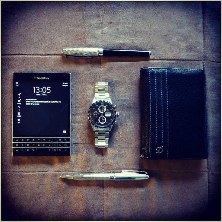 #inst10 #ReGram @confidenceswe: BlackBerry Passport @pikachu92120: #ready for #business #phone #blackberry #passport #blackberrypassport #watch #tagheuer #daydate #pen and #wallet #stdupont #st_dupont_paris #BlackBerryClubs #BlackBerryPhotos #BBer #BlackBerry
