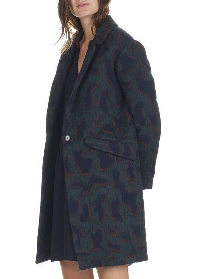 Manteau mi-long motif léopard en coton mélangé Melba Vert by BA & SH