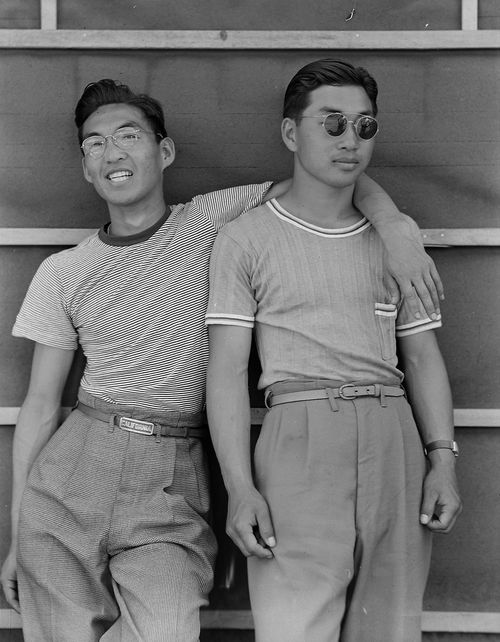 College students of Japanese ancestry who have been evacuated from Sacramento, 1942.    By Dorothea Lange