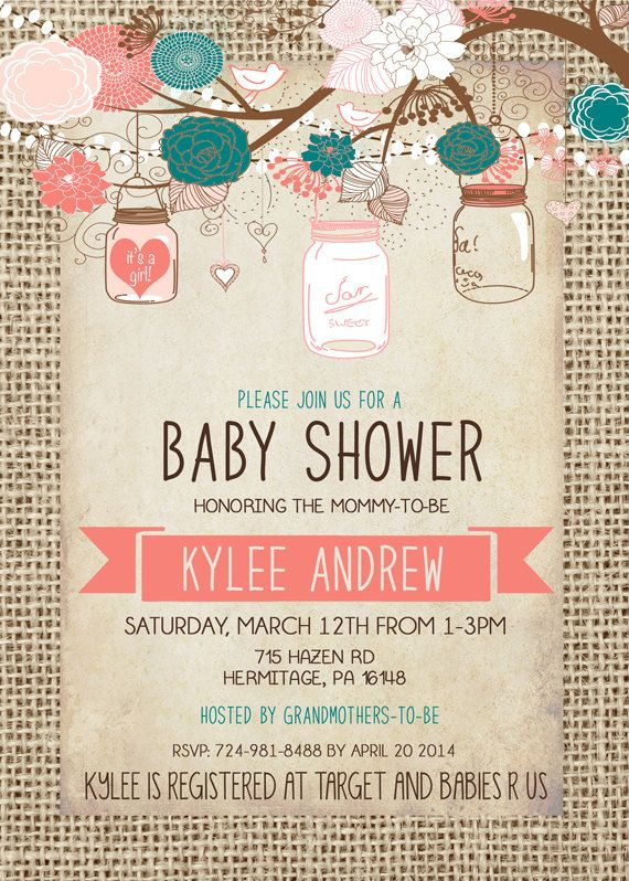 Burlap Baby Shower Girl Invitation Mason Jar Pink by Silvergaze