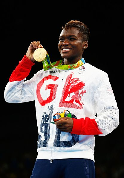Gold medalist Nicola Adams of Great Britain poses during the medal ceremony for…