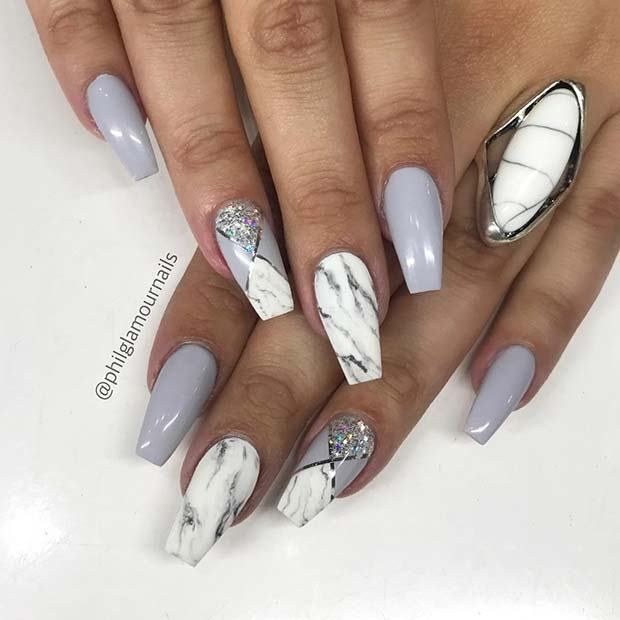 13 Unique Ways To Wear Marble Nails With Images Marble Nail