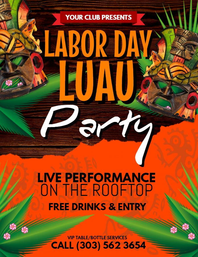 Labor day luau flyer poster template Luau Party Flyers Online