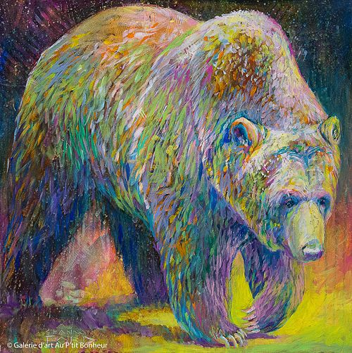 Shannon Ford, 'Grumbly Grizzly', 24'' x 24'' | Galerie d'art - Au P'tit Bonheur - Art Gallery