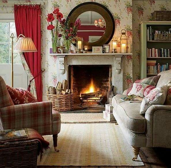 English Cottage Room With Amaryllis Bulbs On The Mantel