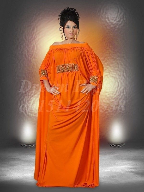 Muslim plus size long sleeve abaya for sale arabic moroccan kaftan evening dress a line strapless orange chiffono caftan 2014