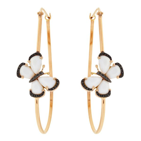 Christina Debs White Agate Butterflies 18k Gold Hoop Earrings ($2,920) ❤ liked on Polyvore featuring jewelry, earrings, butterfly earrings, 18 karat gold earrings, gold hoop earring sets, white gold jewelry and white earrings