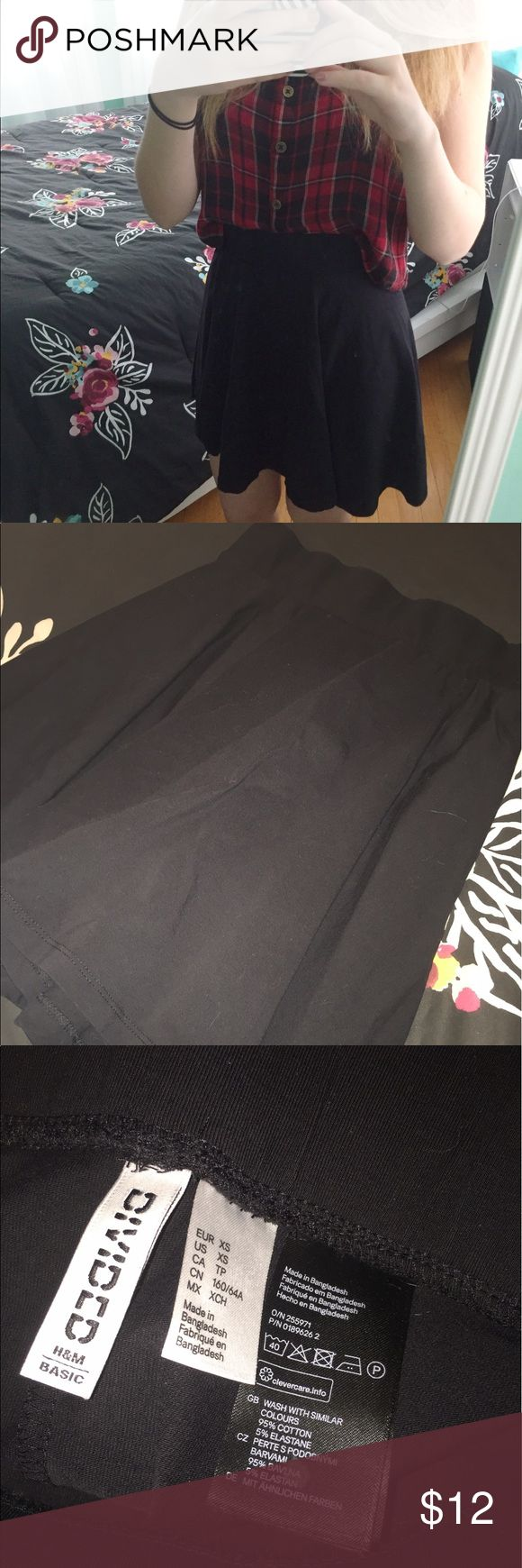 H&M Black Circle Skirt This item has only been worn once or twice. It is in excellent condition. Any questions about this item please let me know! Price can be negotiable depending on offer!! Divided Skirts Circle & Skater