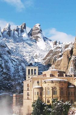 Montserrat abbey. Winter wonderland. Catalonia
