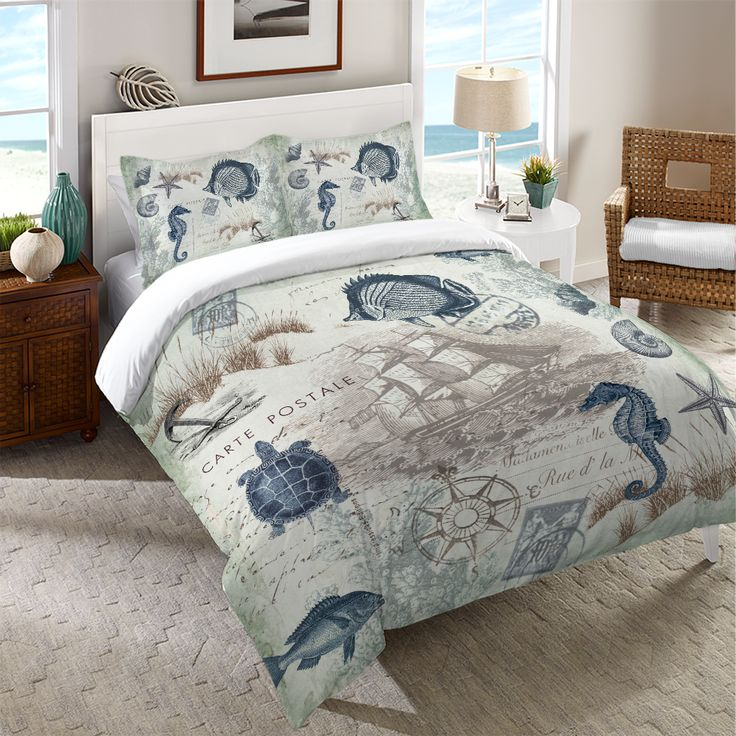 """A vintage coastal-themed duvet featuring coral and and soft, green sea creatures and shells. Laural Home's """"Seaside Postcard Duvet"""" is a lovely addition to any nautical bedroom decor. All of our produ"""