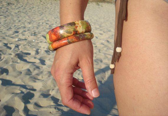 Wooden decoupage bracelet poppy braceletpoppies bangle by Valelval