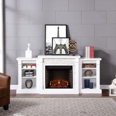Gilman Simulated Stone Electric Fireplace With Bookcases, White