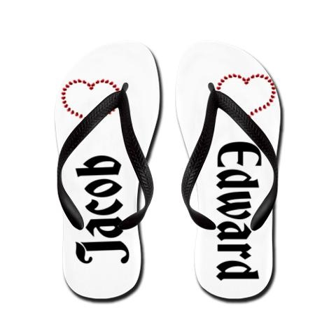 """Flip Flops - """"TWO LOVES, EDWARD & JACOB : Very """"UNIQUE"""" to CRAFTY DEVIL DESIGN - awesomely proud of these.... great price at $29.50AUD, all sizes   http://www.cafepress.com.au/cp/customize/product2.aspx?number=676792363"""