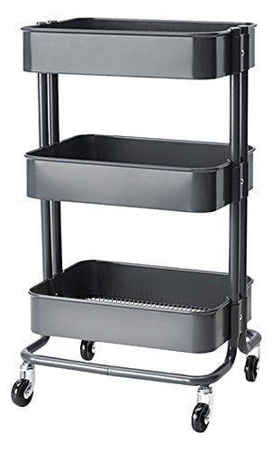 RASKOG-Home-Kitchen-Bedroom-Storage-Utility-Cart-Dark-Gray