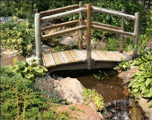 """8' White Cedar Unstained Double Rail Bridge by Fifthroom. $749.00. 8'L x 30""""W; max span of 80""""; capacity: 300 lbs. Hardware: stainless steel screws and galvanized washers, nuts, and bolts. Free Shipping. Made in the USA. Protected by 5 year limited warranty. Our Unstained White Cedar Double Rail Bridge brings a picturesque splendor to the scenery. Its construction from beautiful white cedar provides built-in strength and decay-resistance, ensuring that it will withstand years of..."""