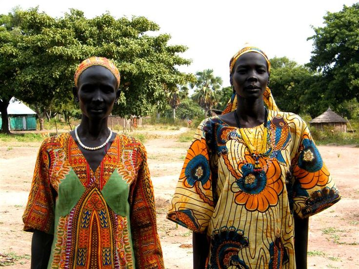 South Sudanese women in traditional clothes.