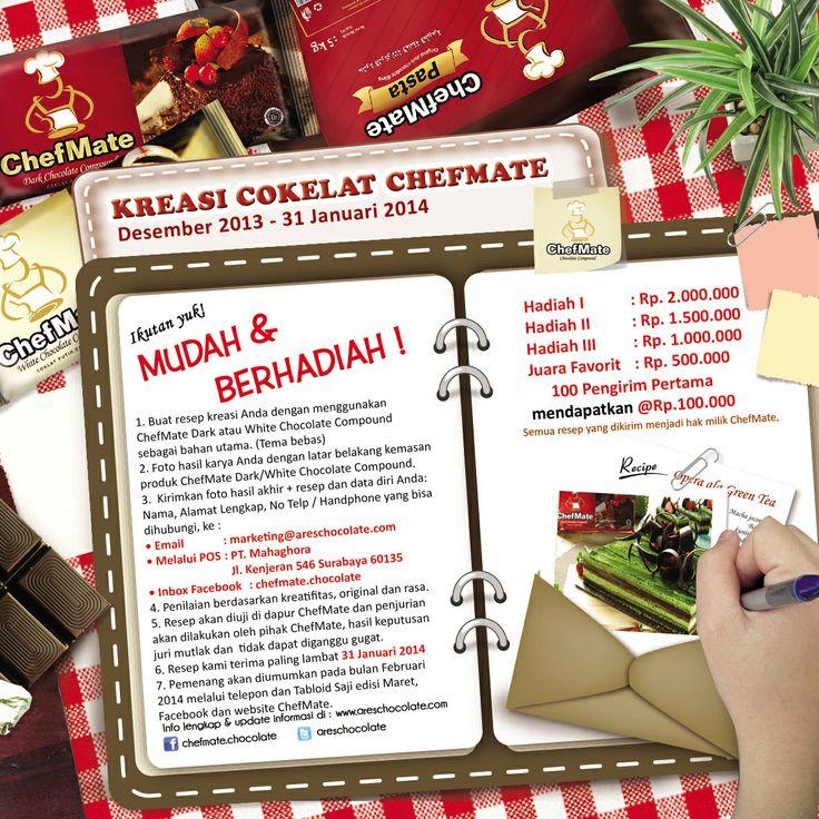 Ikuti Lomba Kreasi Resep ChefMate! Mudah dan Berhadiah!. Info lengkap kunjungi page kami https://www.facebook.com/chefmate.chocolate