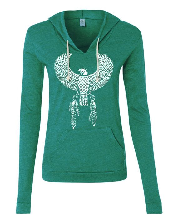 Womens Retro Bohemian EGYPTIAN EAGLE Hoodie *Tshirt Lightweight* Sweatshirt Hooded Alternative Apparel Gray, Blue, Pink, Black  Hand Drawn Hand Printed Original Design by FreeBird Alternative - Ladies Eco-Jersey Classic Hooded Pullover T-Shirt - 1928  *****LIGHTWEIGHT TSHIRT MATERIAL***** For a thicker version click here...  https://www.etsy.com/listing/487899231/womens-paisley-elephant-hoodie-raglan?ref=shop_home_feat_2  4.1 oz., 50/38/12 polyester&#x...