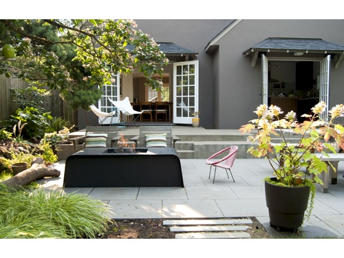 modern oasis natural garden concrete deck concrete tile patio with fire pit and seating garden pinterest concrete deck natural garden and concrete - Concrete Tile Garden Decor