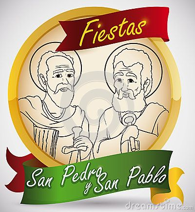 Promotional golden round button with St. Peter and St. Paul image to celebrate traditional feast days in Colombia written in Spanish.