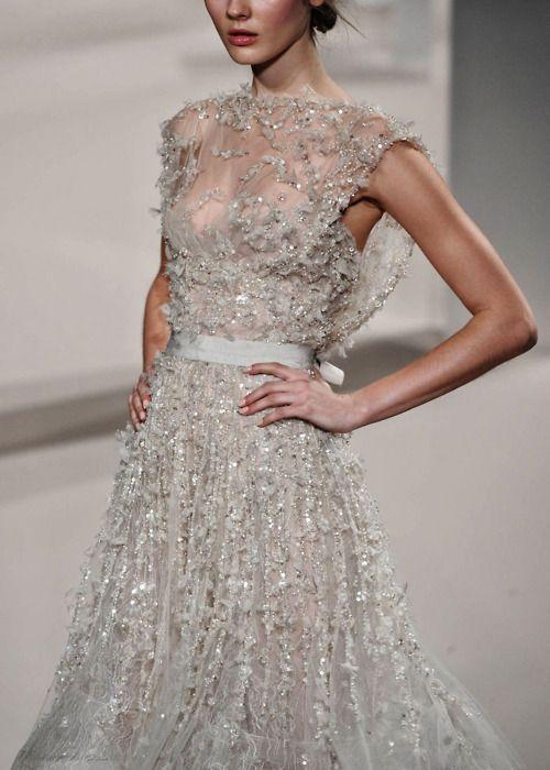 Beautiful silver gray beaded dress. Wish I knew the designer.