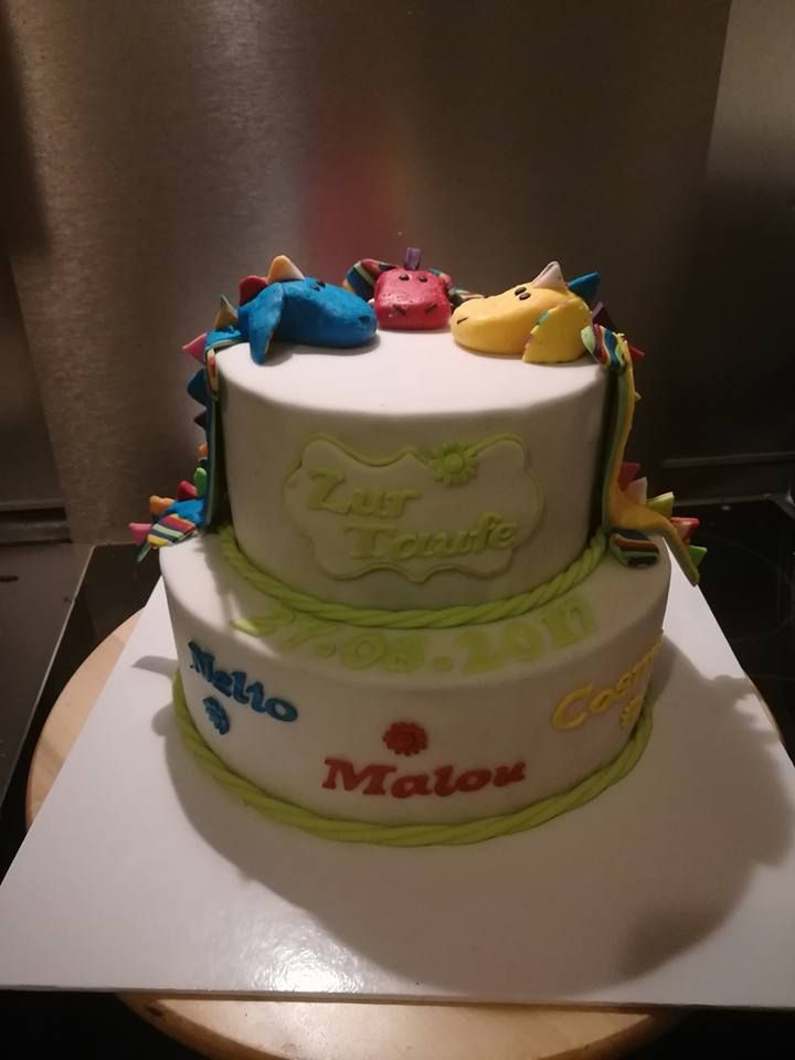 christening cake tripplets