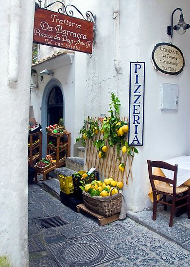Amalfi.....you will see lemons everywhere and find lemon products being sold in most Amalfi towns......