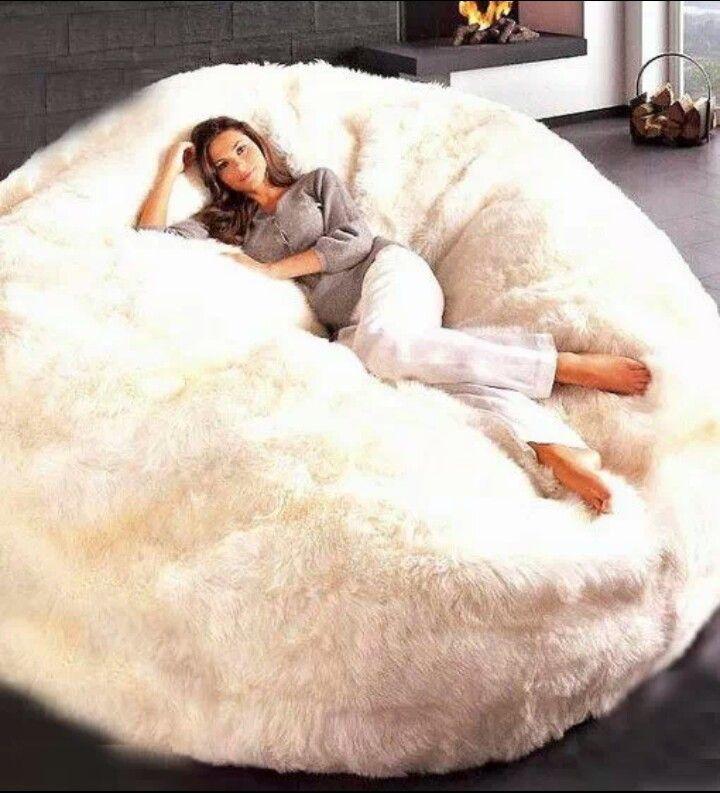 Giant Faux Fur Beanbag Chair Yes Please
