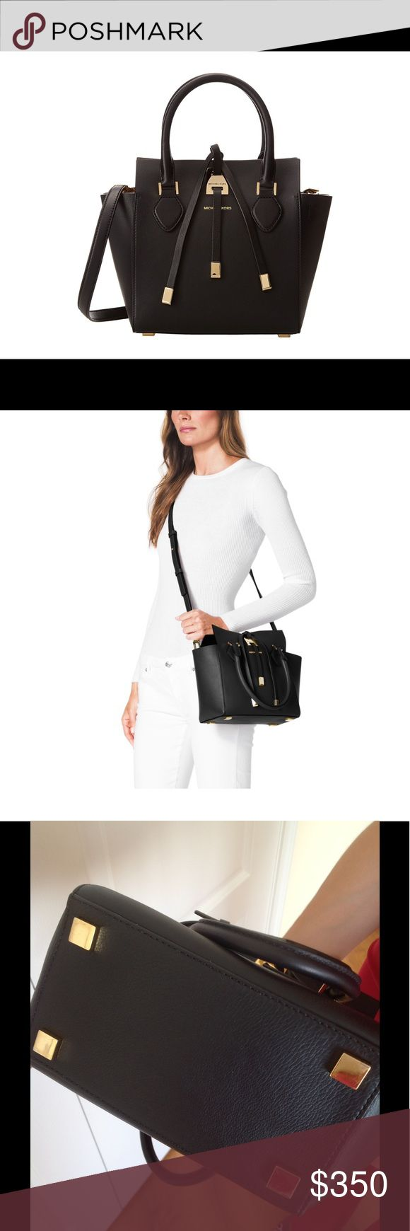 Michael Kors Collection Miranda Tote XS Authentic black tote from Michael Kors' luxury collection. Authentic and European-made and a favorite amongst celebrities. Genuine leather and suede interior, this classic black bag never goes out of style. Comes with shoulder strap for versatility. Can be worn in the crook of your arm or as a cross-body. Imported from Europe. Gold hardware adds amazing accents. Protective feet and 2 pockets inside Michael Kors Collection Bags Crossbody Bags