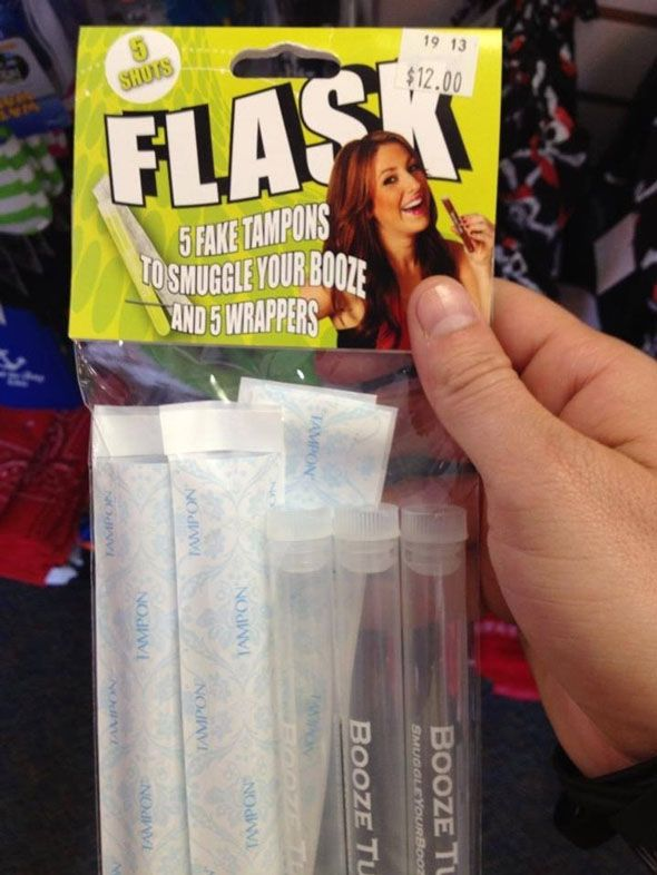 """Tampon Flasks For Smuggling Booze"" How do know when you or your bridesmaids are a bit too intimate with alcohol? When THIS becomes a wedding necessity. Sometimes a regular flask just won't do."