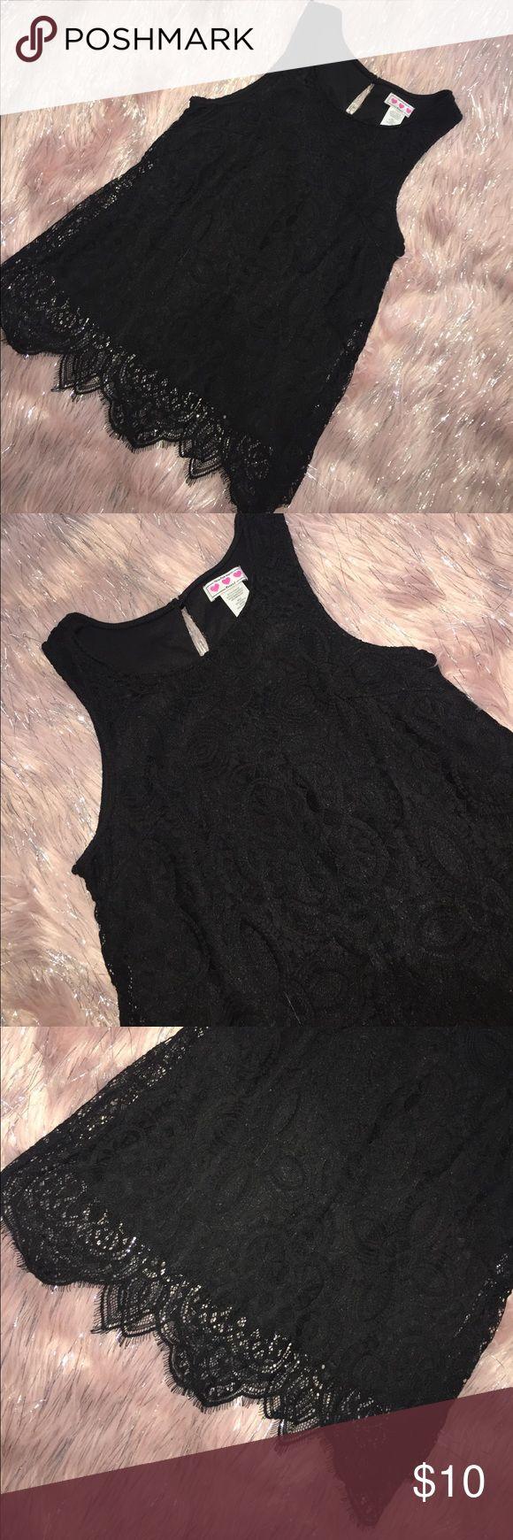Kohls Juniors Black  Lace Tank Like New beautiful Lace detail on bottom Kohls Tops Tank Tops