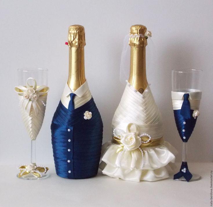Купить Свадебный набор для молодоженов - комбинированный, набор для молодоженов, свадебный набор, свадебные бутылки