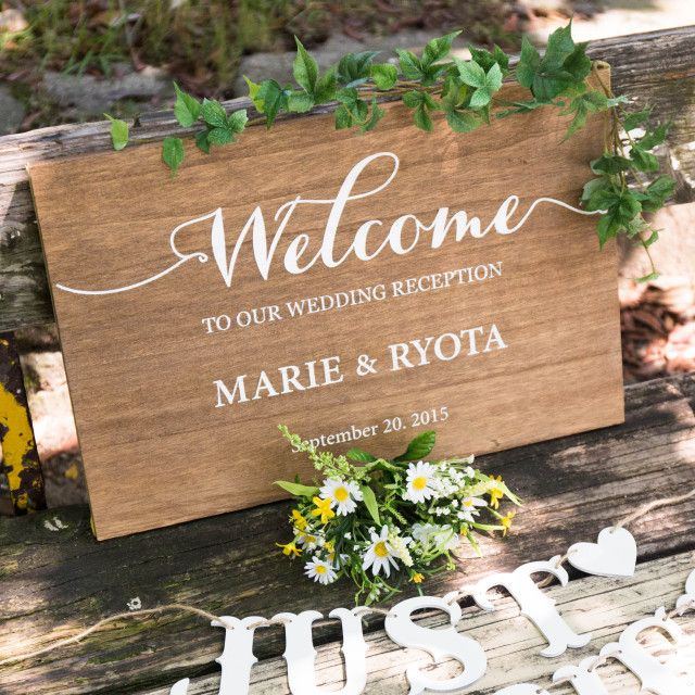 木製ウェルカムボード Wood welcome sign | VANILLA CHIC wedding&parties