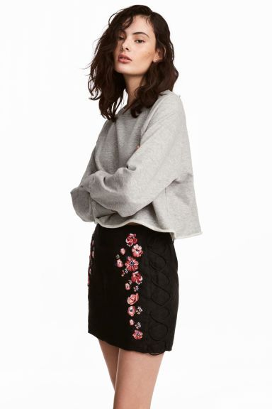 Imitation suede skirt - Black/Flowers - Ladies | H&M GB 1